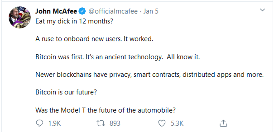 Mcafee second prediction for bitcoin