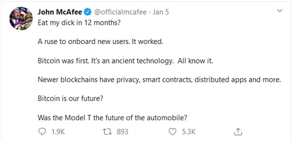 Mcafee second prediction for bitcoin