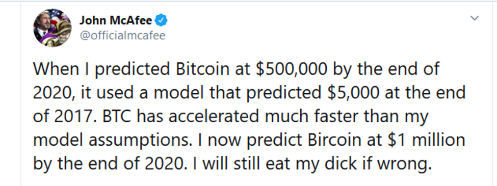 John Mcafee prediction for bitcoin from twitter